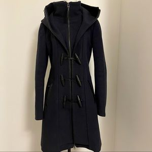 Mackage wool hooded coat with toggles. Hood is removable